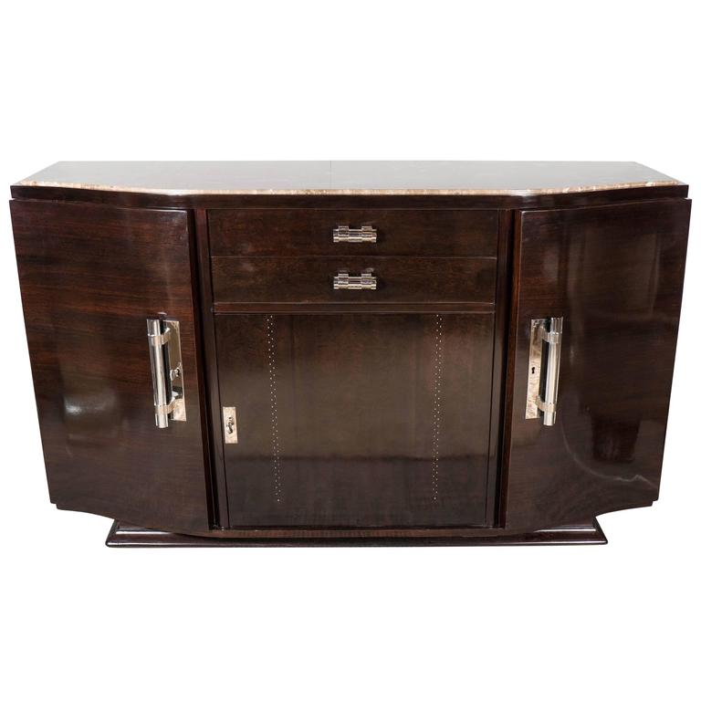 Art Deco Book-Matched Rosewood and Emperador Marble-Top Sideboard