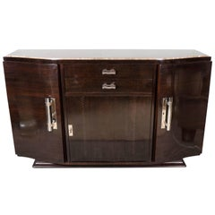 Art Deco Book-Matched Amboyna, Rosewood & Emperador Marble-Top Sideboard
