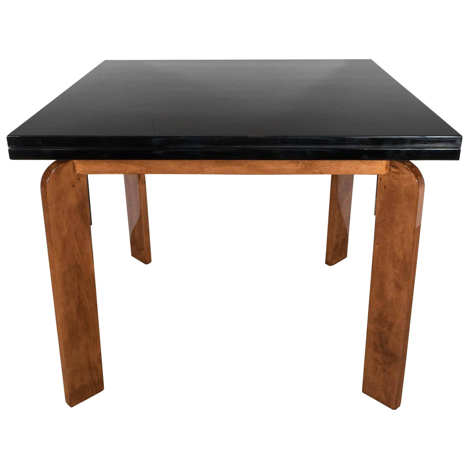Streamline art deco flip top extension dining table or for Dining room game table