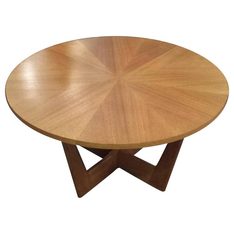 danish teak circular midcentury coffee table with pie-shaped