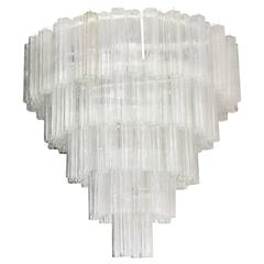 Five-Tier Tronchi Tube Chandelier by Venini for Camer
