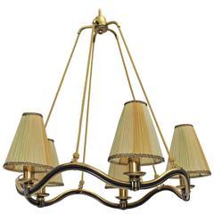 Viennese Art Deco Brass Wavyline Chandelier Attributed to Hugo Gorge Austria