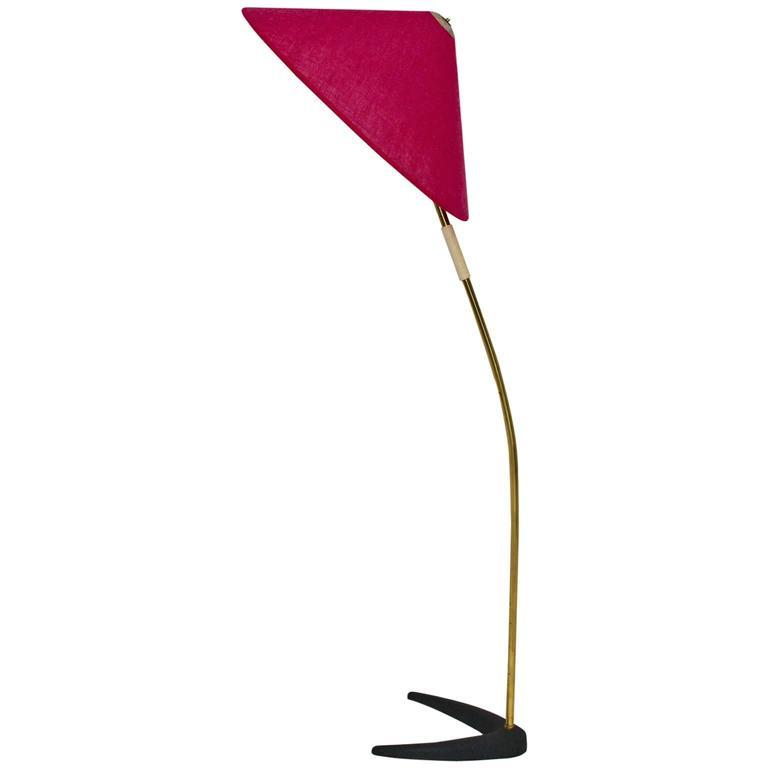Mid-Century Modern Kalmar Brass Floor Lamp with Clawfoot 1950s Austria For Sale