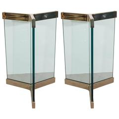 Pair of Leon Rosen Glass and Brass Dining Table Bases for Pace Collection
