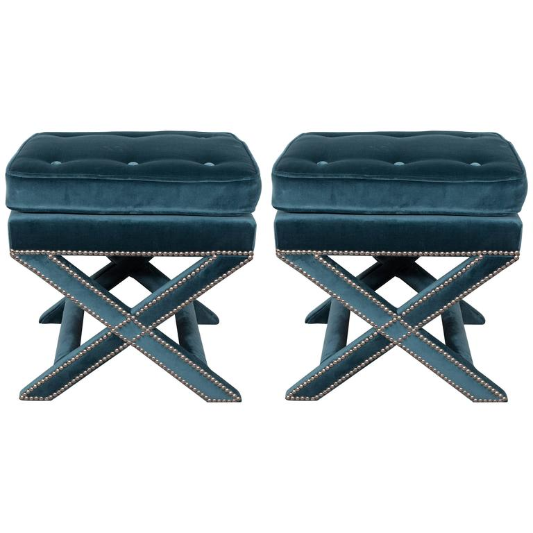 Pair Of Mid Century X Benches In Jade Velvet With Chrome Nailhead Trim At 1stdibs