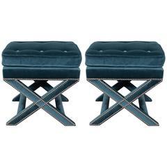 Pair of Mid-Century X-Benches in Jade Velvet with Chrome Nailhead Trim