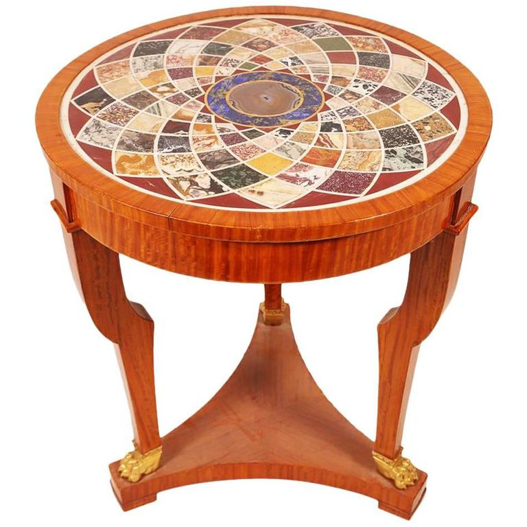Fantastic Mosaic Inlaid Specimen Round Center Table with Bronze Claw Feet