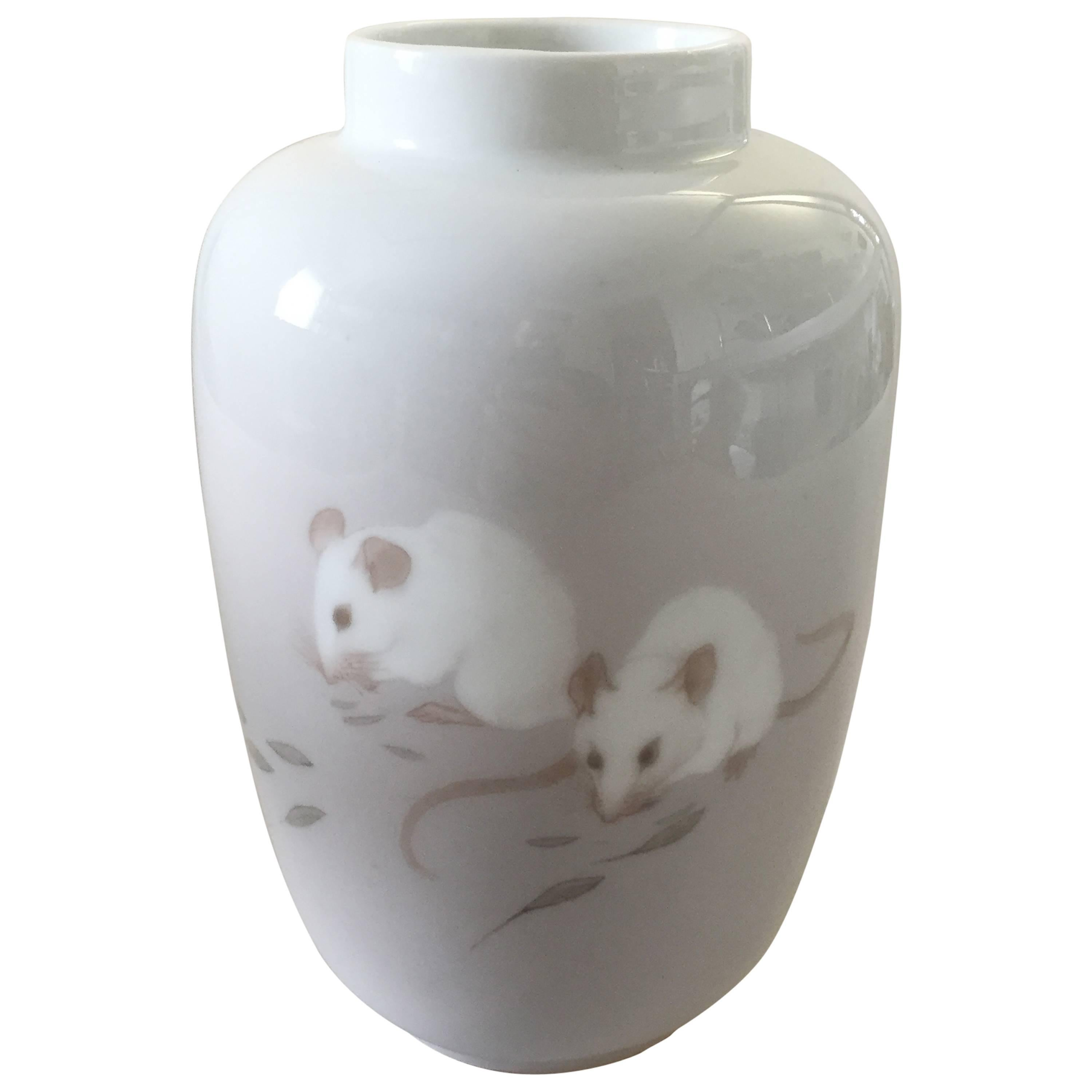 Royal Copenhagen Unique Art Nouveau Vase with Mice Decoration