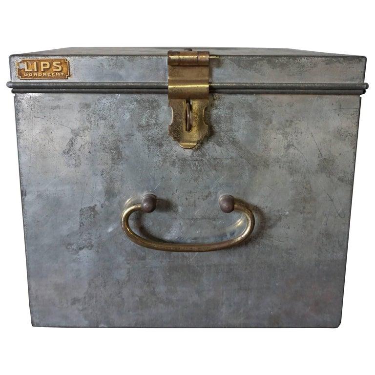 Vintage Industrial Safe Box with Brass Details For Sale