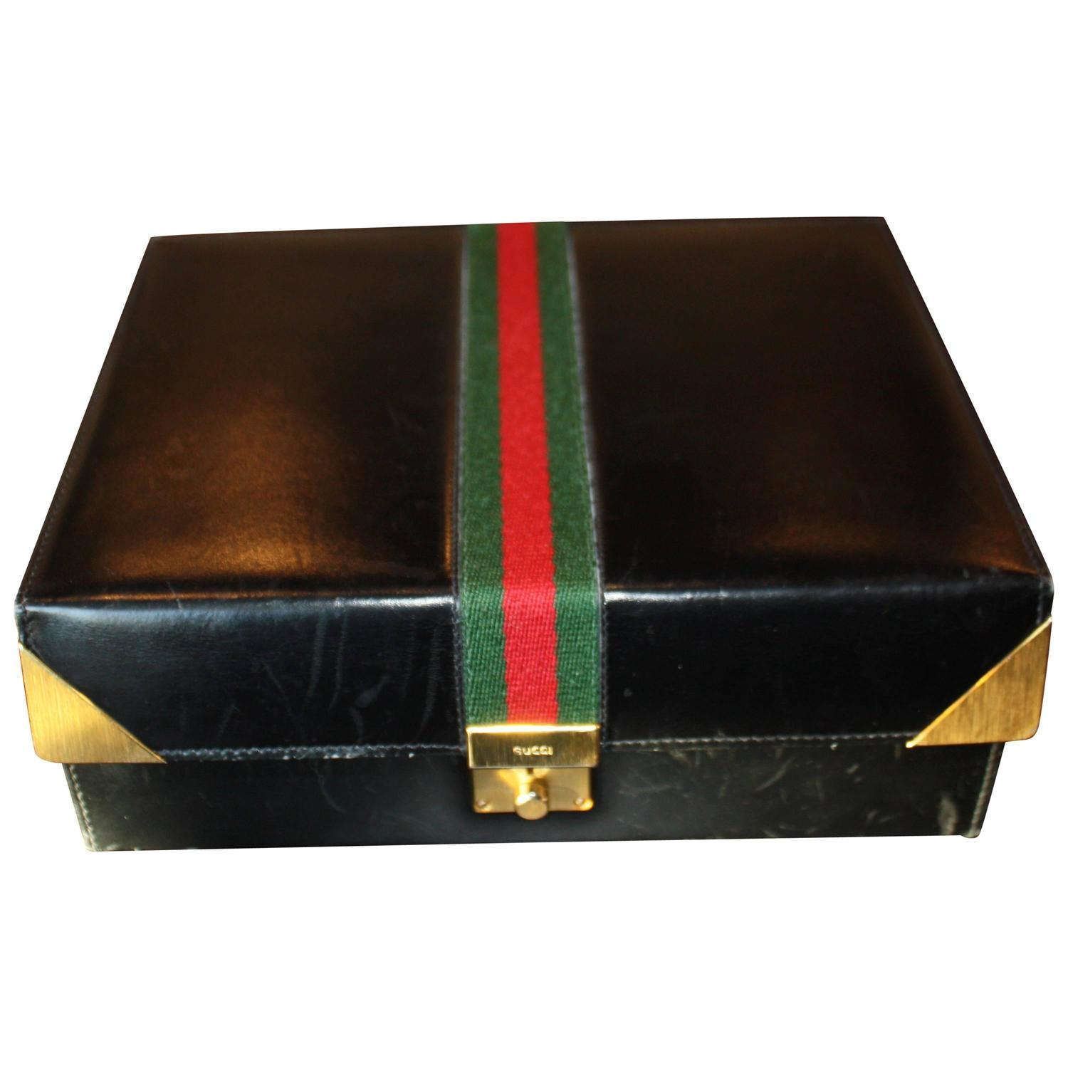 Gucci Leather Jewelry Box 1970s at 1stdibs
