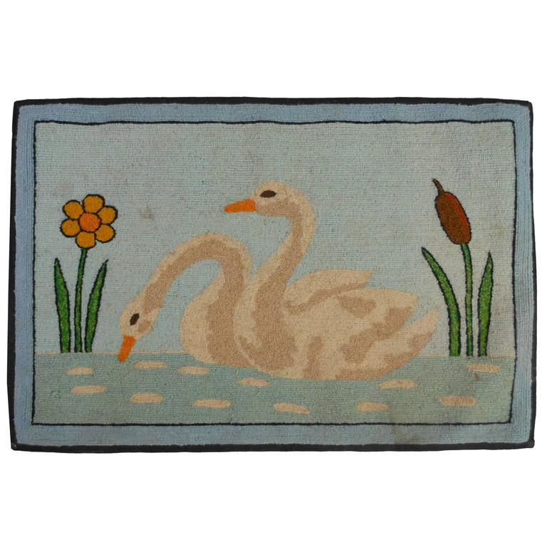 Folk Art Hooked Mat of a Pair of Swans For Sale