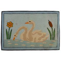 Folk Art Hooked Mat of a Pair of Swans