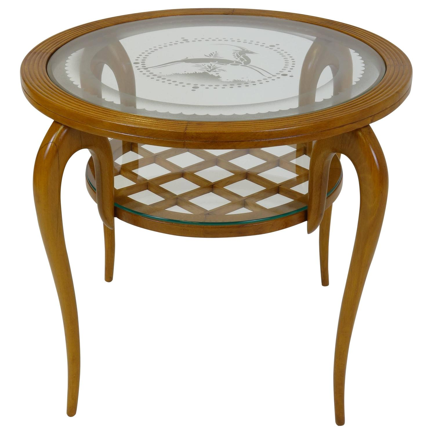 sidetable attributed to gio ponti gueridon art deco end table glasstops for sale at 1stdibs. Black Bedroom Furniture Sets. Home Design Ideas