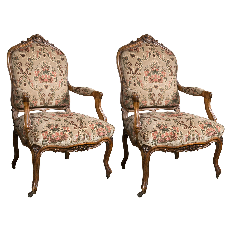 Pair of 19th Century Louis XV Style Walnut Fauteuils