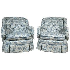 Pair of Tufted Barrel Back Chairs Custom Quality