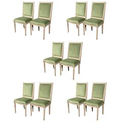 Set of Ten Louis XVI Style Paint Decorated Dining Chairs attrib. Maison Janse