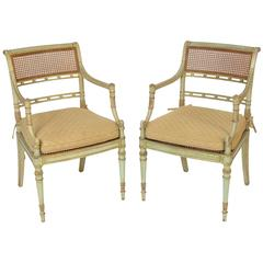 Pair of Painted English Regency Style Armchairs