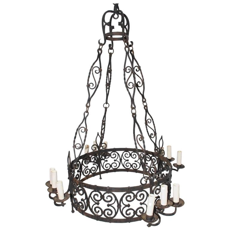 Large French 1930 Wrought Iron Chandelier