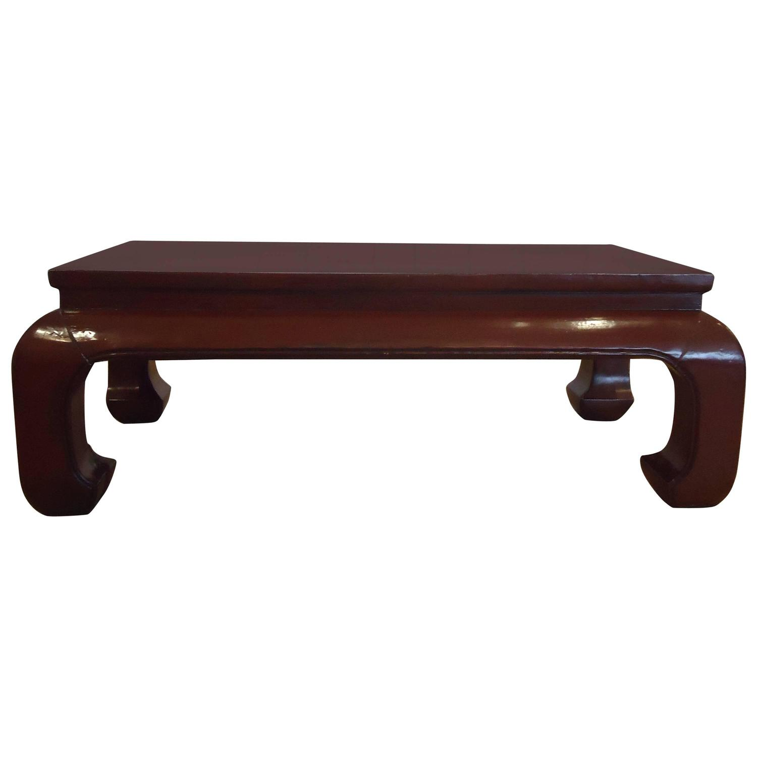 Stunning Dark Red Lacquer Chinese Coffee Table at 1stdibs