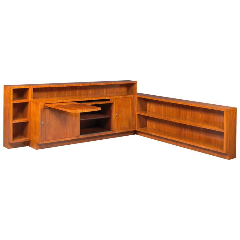 Pierre Chareau, Important Walnut Corner Bookcase