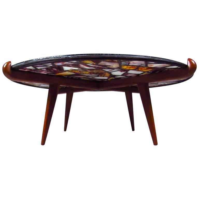 Mid Century Modern Walker Weed Stained Glass Coffee Table For Sale