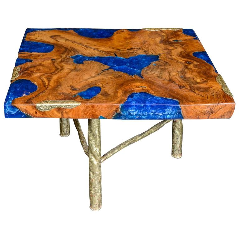 Cocktail table with blue resin and wood by henri fernandez at 1stdibs One of a kind coffee tables