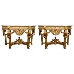 Exceptional Pair of Gilded Wood Console