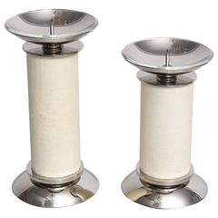 Set of Two Karl Springer Candlesticks in Shagreen and Nickel-Plated Metal, 1980s