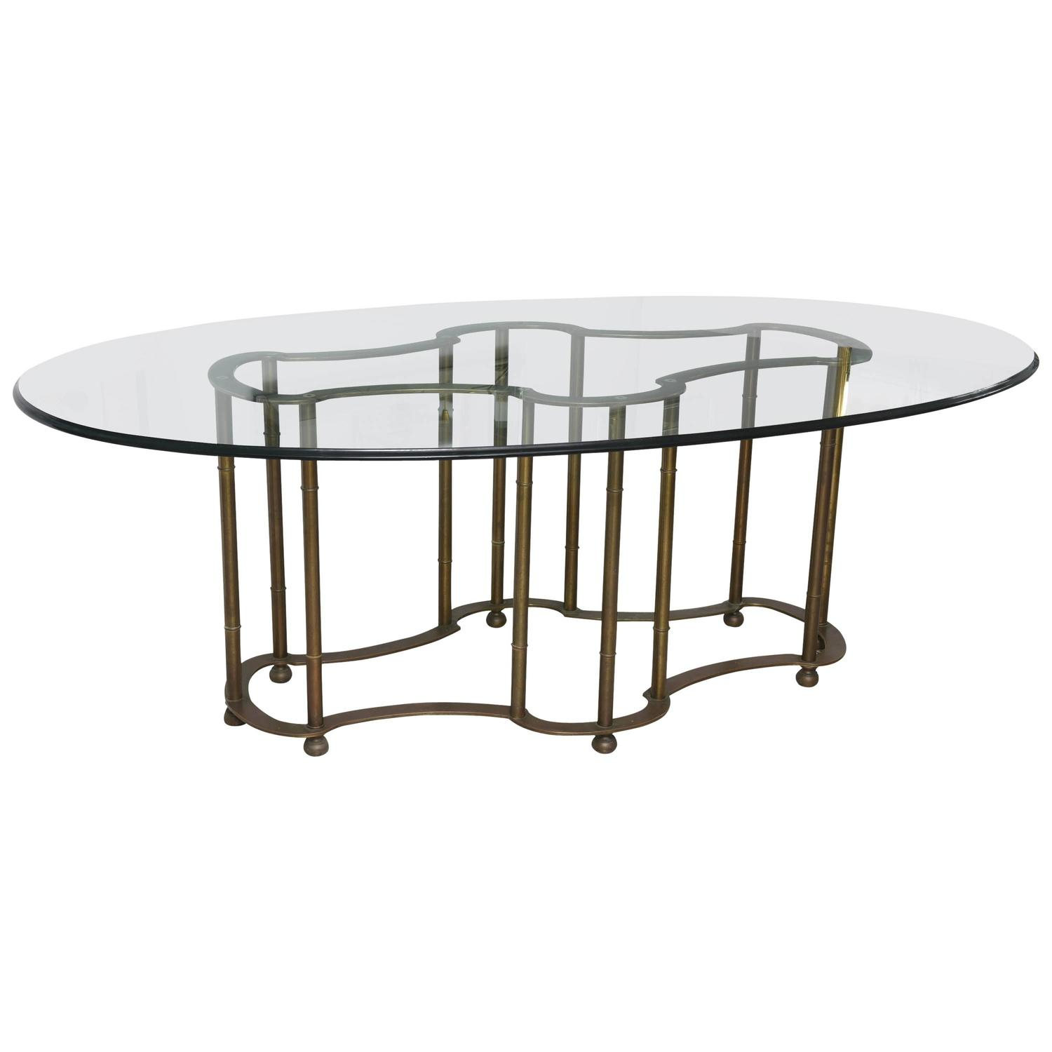 Mastercraft Hollywood Regency Race Track Dining Table Brass Faux