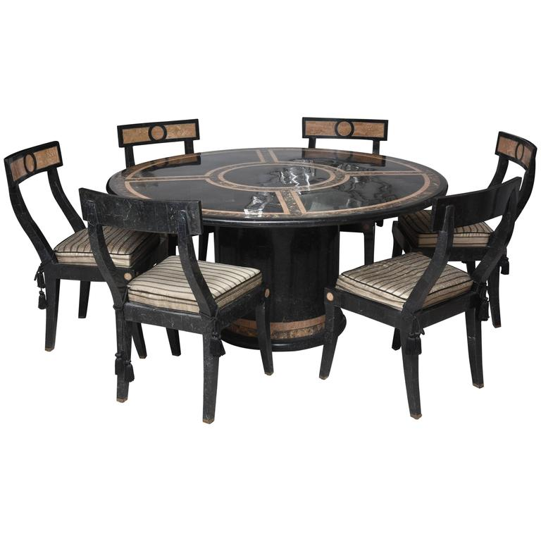 Hollywood Regency Style Dining Table And Chairs In The Style Of Maitland Smi