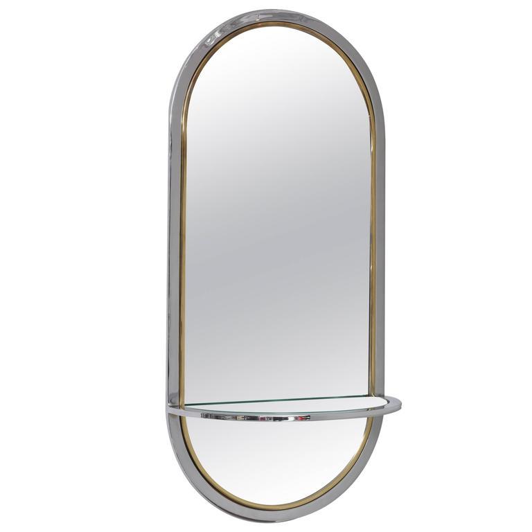 Midcentury Chrome Wall-Hung Mirror with Shelf, Milo Baughman for DIA, 1970s