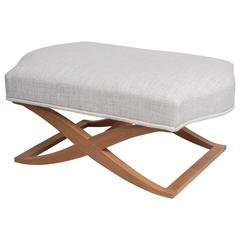 """""""Versailles"""" Bench Upholstered in Linen with Maple Frame, John Hutton for Donghi"""