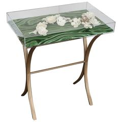 Lucite Object d'art with Rose Tone Metal Side Table by AMK for Patricia Kagan