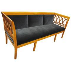 Antique Scandinavian Biedermeier Style Settee Blue Mohair Upholstery, circa 1865