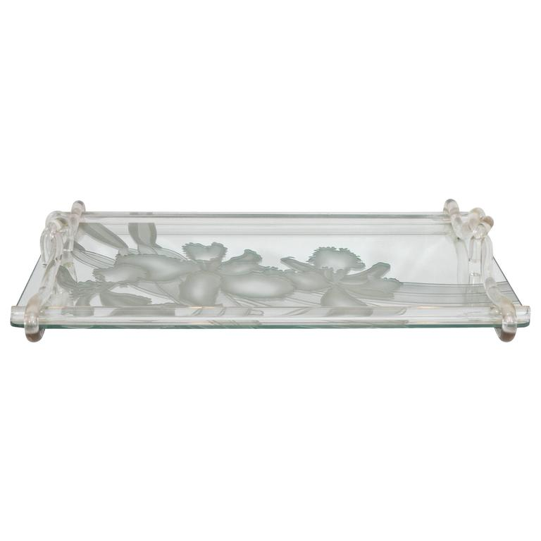 Dorothy Thorpe Etched Mirrored Glass Tray with Lucite Handles