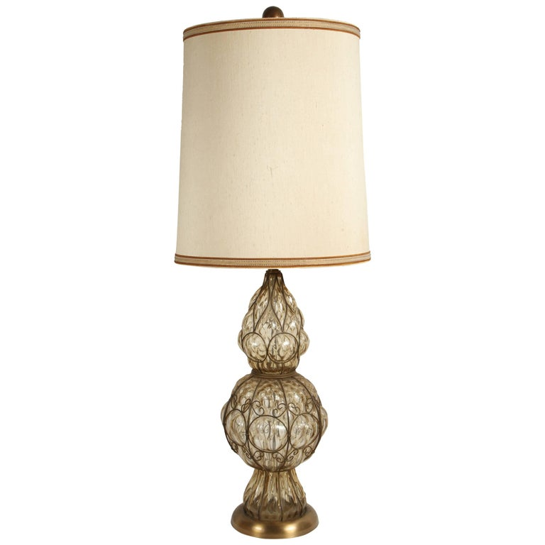 Vintage Murano Glass Italian Table Lamp by Marbro For Sale