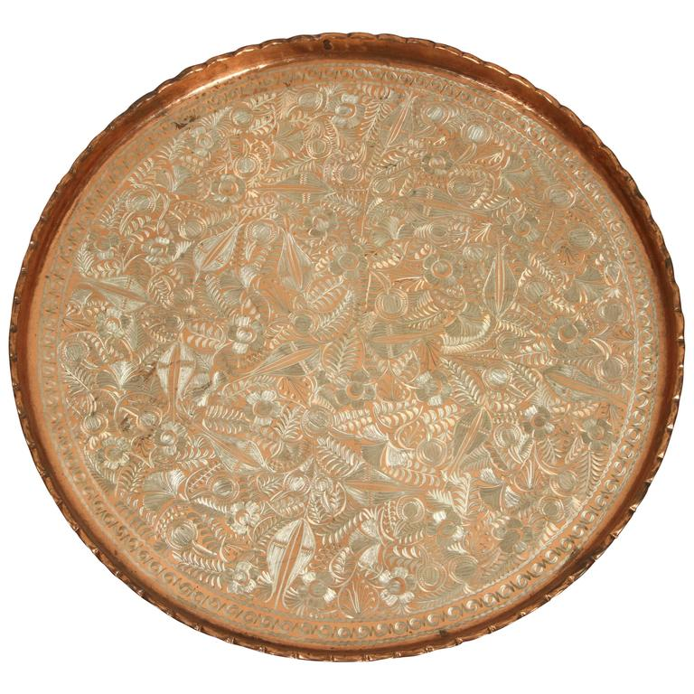 Large Hand-Crafted Decorative Persian Hammered Brass Tray For Sale ...