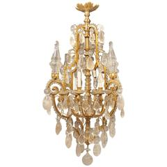 Fantastic Early 20th Century Gilt Bronze and Rock Crystal Chandelier