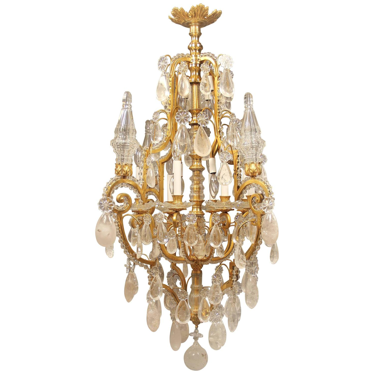 Fantastic Early 20th Century Gilt Bronze And Rock Crystal Chandelier For Sale