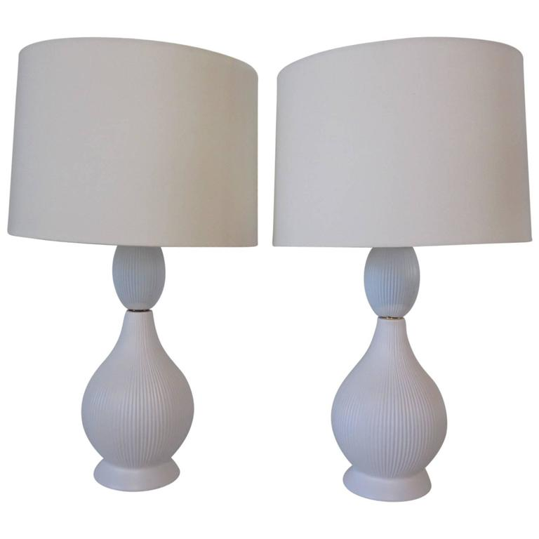 Mid-Century Onion Skin Styled Ceramic Pottery Table Lamps