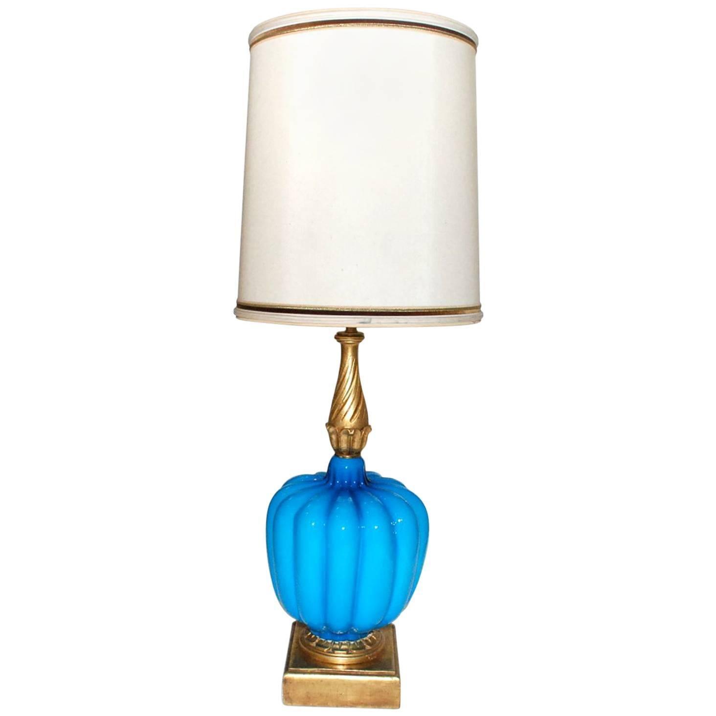 Italian Turquoise Murano Table Lamp