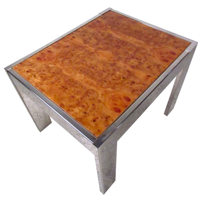 Milo Baughman Inspired Burl Wood Coffee Table