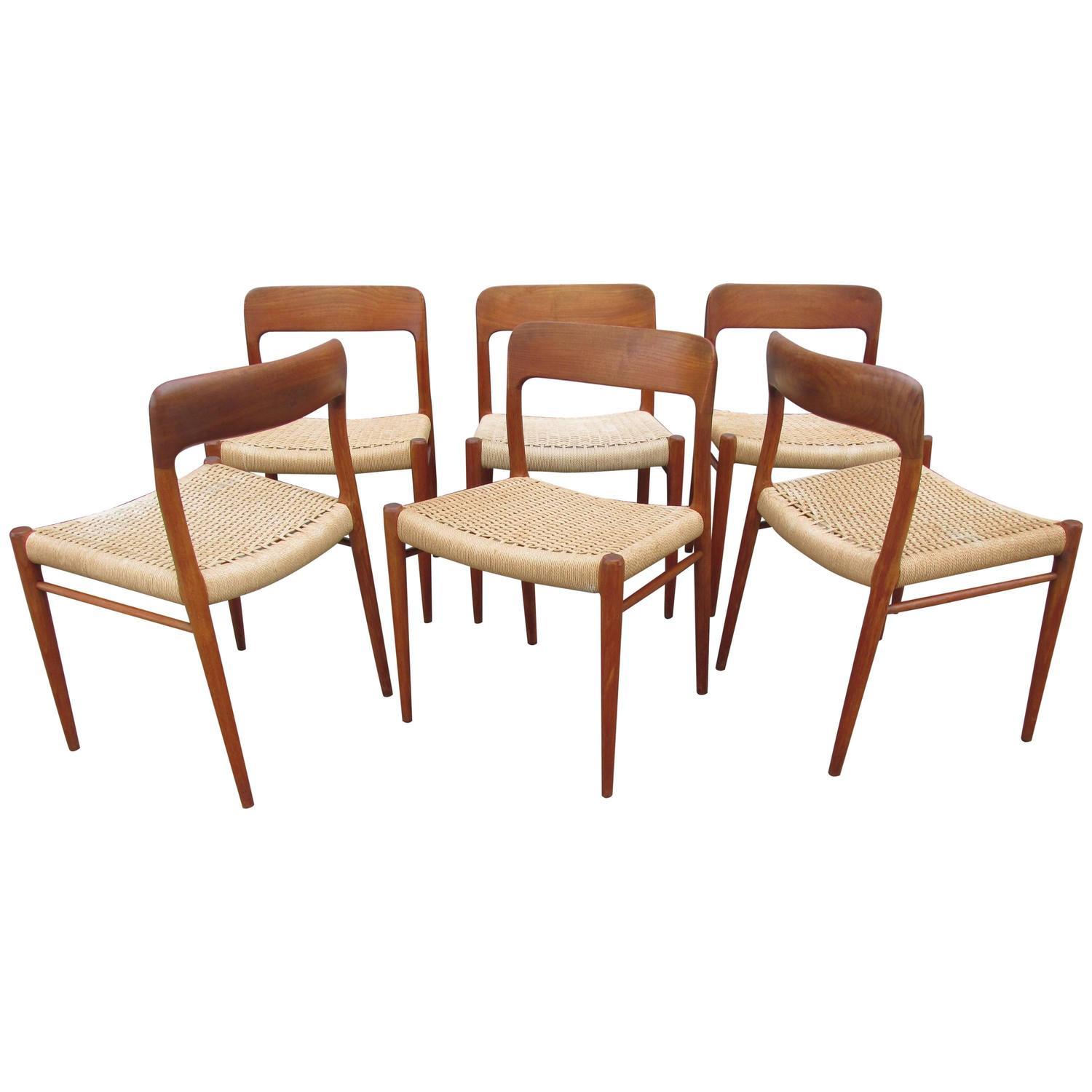 Niels Otto Moller For J L Moller Set Of Six Teak Dining Chairs At 1stdibs
