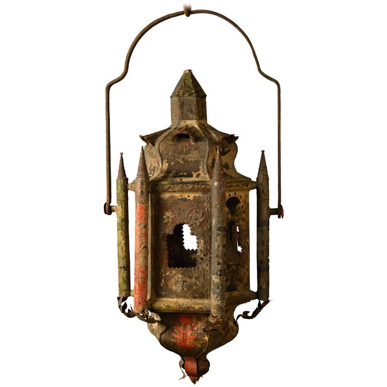 Early 18th Century French Tole Lantern Retaining the Original Paint