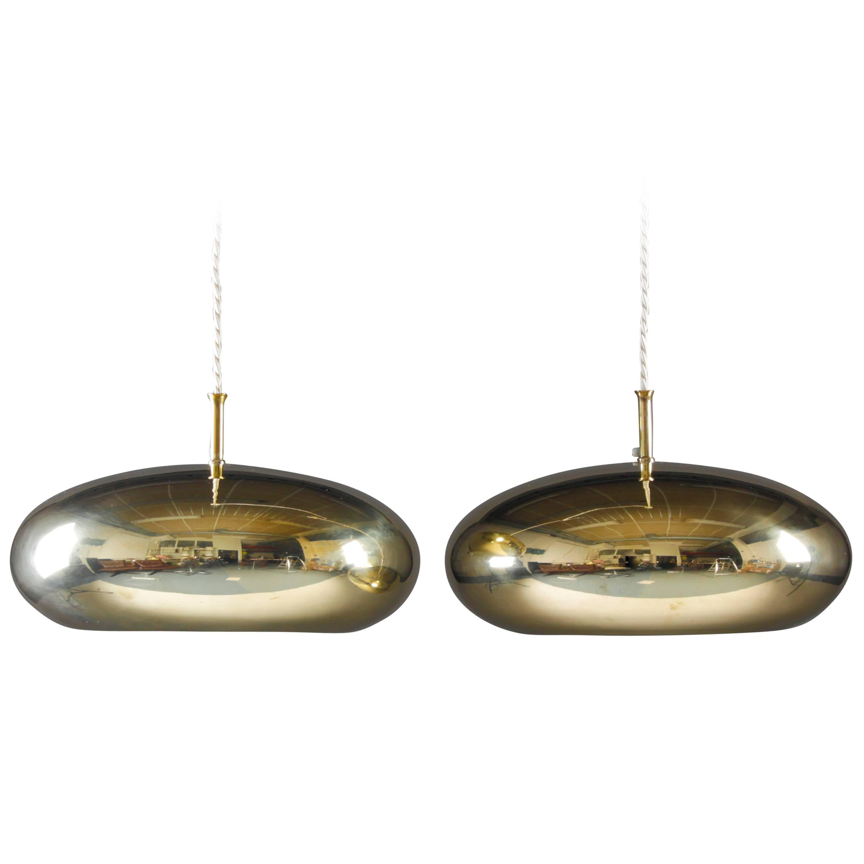 Pair of Scandinavian Mid Century Brass Pendants by Falkenberg