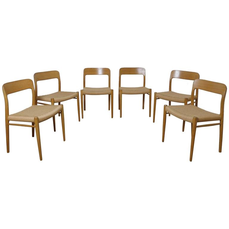 Set Of Six Bright Oak Dining Chairs By Niels Otto Moller