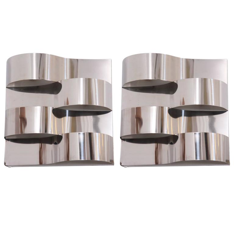 Pair of Beautifully Shaped 1970s Chrome Wall Sconces
