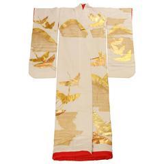 Vintage Collectable Japanese Ivory Silk Ceremonial Kimono