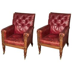 Good Pair of George IV Carved Mahogany Library Bergères
