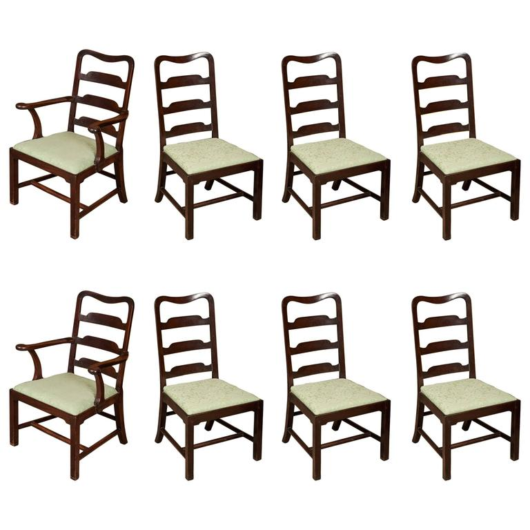 Superb Set of Eight George II Mahogany Dining Chairs